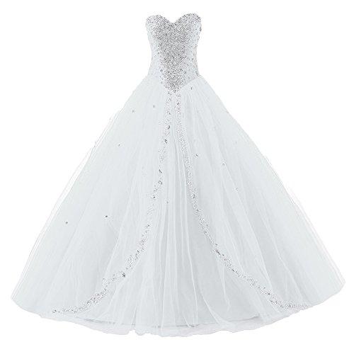 Ballkleider Damen Lang Quinceanera Kleider Festkleider Abendkleider Tüll A Linie Weiß EUR42
