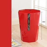 Pattumiere ottagonali senza coperchio bagagli Barrel spessa domestica Cucina cestino del bagno di plastica ( colore : Grande rosso )