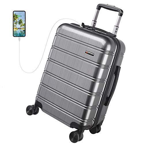 REYLEO Valise Cabine 8 Roues pivotantes, USB Port, Serrure TSA, Légère, Antichoc, Résistante aux Rayures, Grise, 55cm/32L