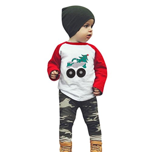 Neugeborenes Baby Kleidungsset Longra Kleinkind Baby Mädchen Jungen Kleidung Anzug Cartoon Druck Langarmshirts Tops + Hosen Outfits Baby Camouflage Sweatshirt Kleidungsset (105CM 3Jahre, Red) (80's Cartoon Kostüme Idee)