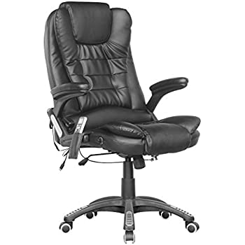 This Item FoxHunter Luxury Leather 6 Point Massage Office Computer Chair Reclining High Back Black New