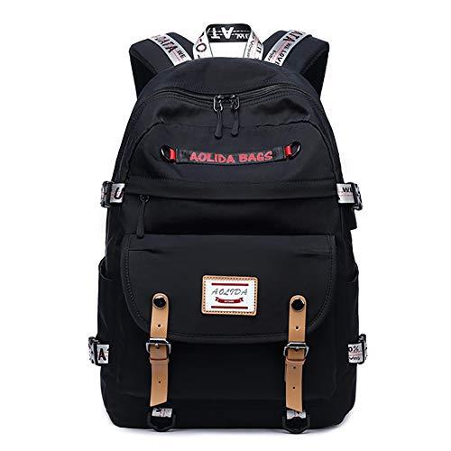 GWCASA Große Studententasche, wasserdicht und atmungsaktiv, mit USB-Ladeanschluss, Unisex College-Rucksack-Black