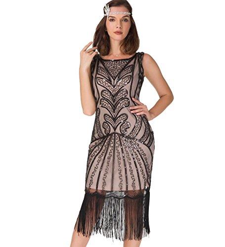uniq sense Damen Kleid im Stil der 20er-Jahre, Fransen, Vintage-Stil, Great Gatsby-Partykleid - Beige - - Roaring 20's Übergröße Flapper Kostüm