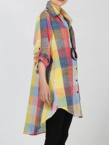 Vogstyle Chemise Femme à Carreaux Blouse Casuel Long Haut Chic Robe Court à Manche Longue Orange