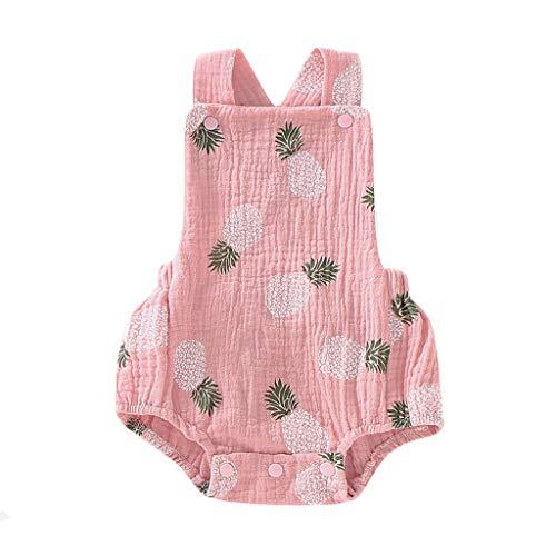 squarex Sommer Neugeborenes Baby Mädchen Ananas Print Strampler Ärmelloser Overall Lässige Träger Bodysuit Bequeme Outfits