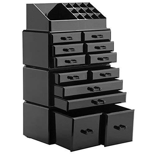 display4top 12 Schubladen Schmuck Aufbewahrungsbox Acryl Kosmetik Organizer Lippenstift Make-up-Organizer Halter Box