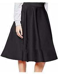 Las Mujeres De Color Solido Ol De Cintura Alta Completos Plisados ??Grandes Dobladillo Faldas Midi Moda