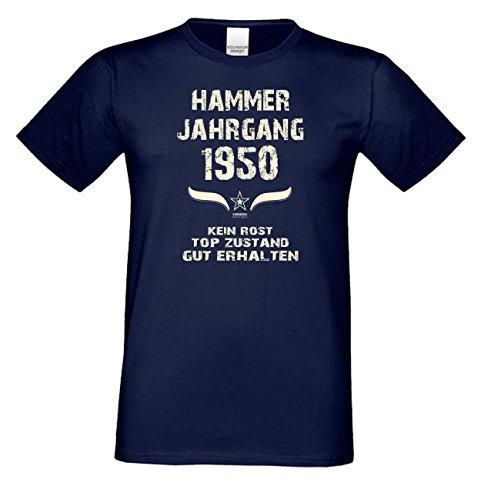Geschenk zum 67. Geburtstag : Hammer Jahrgang 1950 : Geschenkidee Geburtstagsgeschenk für Ihn - Herren Männer Kurzarm T-Shirt Geschenkset Farbe: navy-blau Navy-Blau