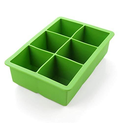 iNeibo Eiswürfelform aus lebensmittelechtem Silikon für 6 XXL Eiswürfel. Grün Std Muffin