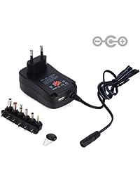Prosensor® 30W Voltaje Multi cargador universal de la CA 100V a 240V de entrada / DC 3v 4.5v 5v 6v 7.5v 9v 12v de salida Plug-in adaptador de viaje con conmutación CC 6 Consejos y USB 5V 2.1A puerto