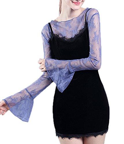 Smile YKK Top Femme Dentelle T-shirt Epaule Nue Blouse Chemise Manche Longue Evasée Elégant Bleu