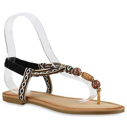 Damen Zehentrenner Metallic Sandalen Lederoptik Schuhe Flats Dianetten Ethno Party Schuhe Abiball Schwarz Verzierung