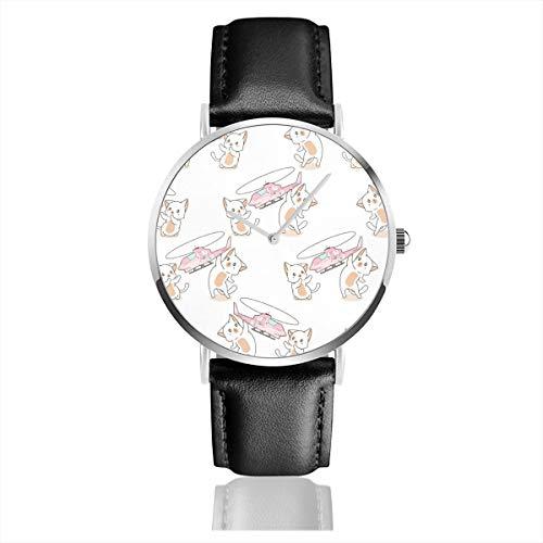 Armbanduhr Seamless 2 Kawaii Katzen Spielen Hubschrauber Spielzeug Muster Quarzuhr für Männer Frauen Casual Uhren mit schwarzem Lederband