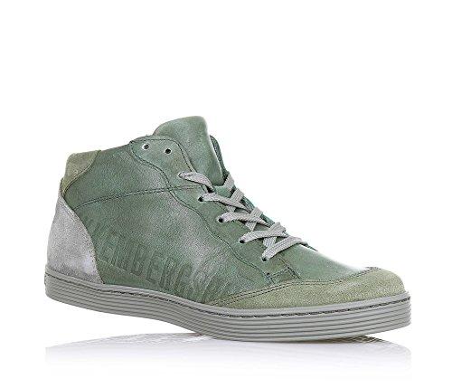 BIKKEMBERGS - Sneaker verde stringata, in pelle e camoscio, con chiusura a zip laterale, cuciture a vista e suola in gomma, Bambino, Ragazzo-38