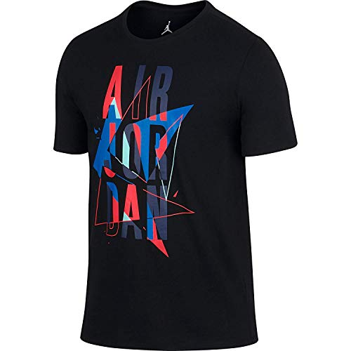 Jordan Herren T-Shirt AJ VII Stacked Black/Infrared/Copa 706840-010, Herren, Black/Infrared/Copa, X-Large