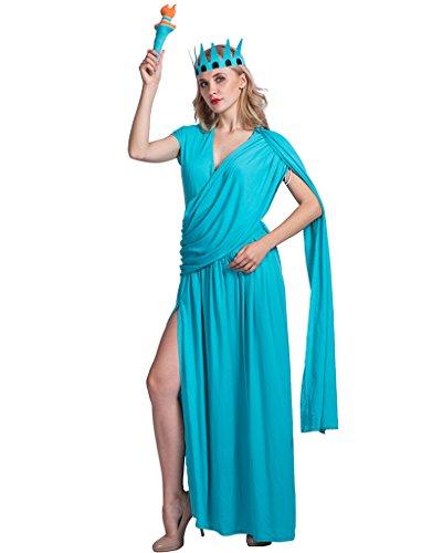 EraSpooky Damen Freiheitsstatue Karneval Kostüm mit Kopfschmuck Statue of Liberty Kleid