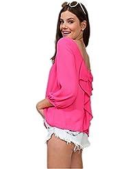 Autek women's Shirt 2014 Nouveau Blouse Femmes Printemps Eté ras du cou manches 3/4 Chemisier Retour Bow jetant Chemisier en mousseline de 5 couleurs l'expédition de baisse (taille Asie)