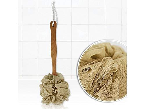 Cepillo exfoliante de ducha, spazola para el cuerpo, esponja de baño con el Mango Largo de madera, Ideal para la Espalda y los pies, limpieza profunda pero delicada, redes de nailon beige