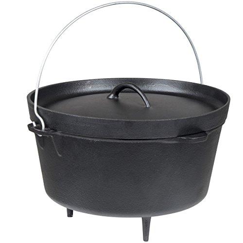 Dutch Oven Feuertopf aus Gusseisen vielseitig anwendbar Durchmesser ca. 31 cm • Schmortopf Grill Topf Bräter Camping