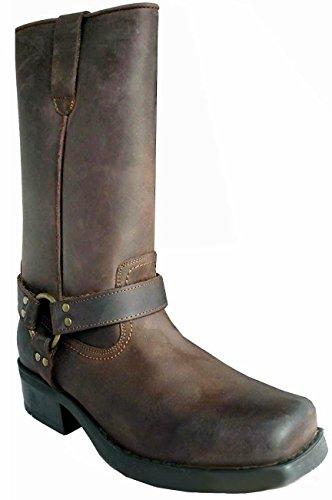 Stiefel Leder für Herren Länge Wadenlang, Stil Terminator Biker Cowboy mit Socken, Braun - Braun - Braun - braun - Größe: 43