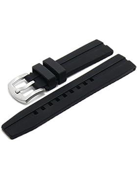 Meyhofer Uhrenarmband Montello 20mm XL schwarz Silikon mit Längsnut matt MyPlkkb3020/XL/20mm/schwarz/oN