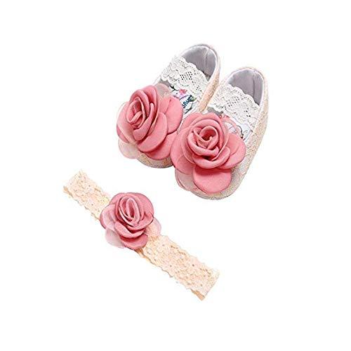 Huhu833 Babyschuhe, 2 Pcs Baby Mädchen Schuh Anti-Rutsch-weiche Sohle Kleinkind Schuhe+ Stirnband (0~6 Month, Rosa 11)