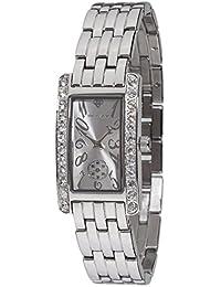Yves Camani Damen-Armbanduhr Amance II mit silbernem Edelstahl-Gehäuse und Zifferblatt. Elegante Quarz Damen-Uhr mit steinbesetzer Lünette und silbernem vollmassivem Edelstahl-Armband.