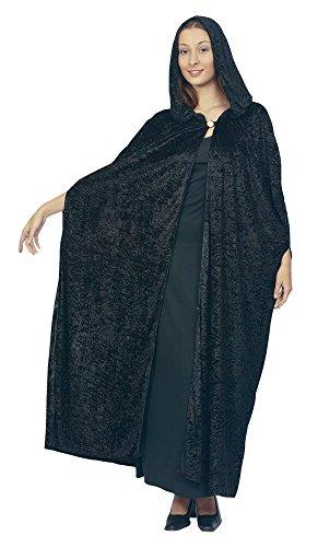 3Gothic Kapuzen Samt Umhang, schwarz, Blumenkasten Brust Größe (Zauberin Kostüm Ideen)