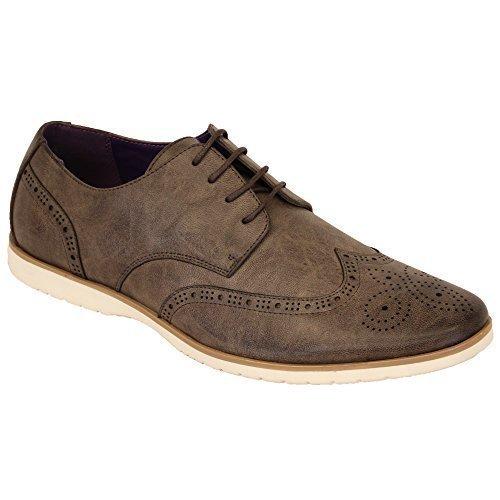 Hommes Allure Cuir Brogue À Lacets Pointus Habillé Chaussures Italiennes By Belide Gris - M019