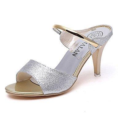LvYuan Sandalen-Lässig-PU-Flacher Absatz-Komfort-Schwarz Lila Silber Gold Purple