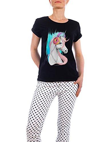 "Design T-Shirt Frauen Earth Positive ""Unicorn in the headphones of donuts"" - stylisches Shirt Tiere Natur Musik Fiktion von Nikita Korenkov Schwarz"