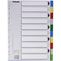 Esselte Separadores de plástico, PP, Tamaño A4, Gama ECO, 10 pestañas, Multicolor, 11710