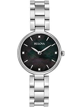 Bulova Diamond 96S173 - Damen Designer-Armbanduhr - Edelstahl - schwarzes Perlmutt-Zifferblatt