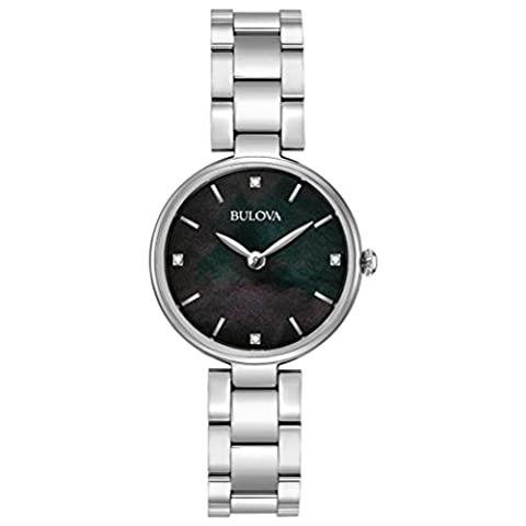Bulova Ladies Women's Designer Diamond Watch Bracelet - Stainless Steel Black Mother Of Pearl Wrist Watch
