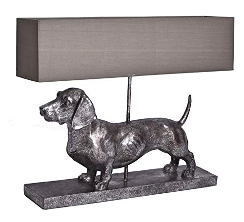 Tischlampe XXL Dackel Lampe Tischleuchte Silber Dachshund Nachttischlampe Palazzo Exklusiv
