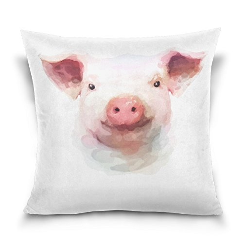 WellLee Soft Cotton Velvet Decorative Pillowcase,Watercolor Animal Pig Painting,Funny Square Throw Pillow Cushion Cover,Two Side Pillow Case for Sofa,Living Room 20x20 in