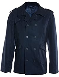 Ex-Store Mens Jacket Double Breasted Wool Blend Peacoat
