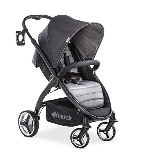 Hauck Lift Up 4 - Silla de paseo con asiento amplio, ligera, chasis aluminio, plegado libro con una mano, desde nacimiento hasta 25 kg, manillar regulable en altura, botellero, Caviar Stone (gris)