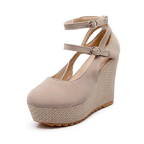 AgooLar Damen Schnalle Mattglasbirne Rund Zehe Hoher Absatz Rein Pumps Schuhe, Aprikosen Farbe, 38