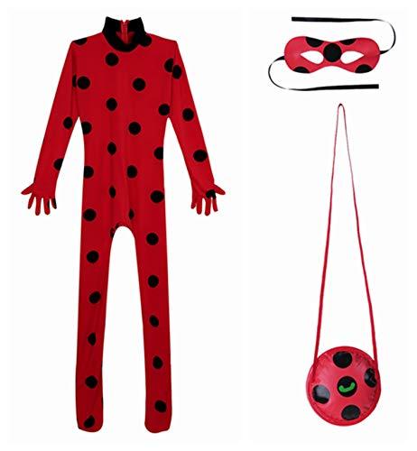 YiZYiF Mädchen Ladybird Katzen Kostüm 3er Set: Jumpsuit, Augenmaske und Tasche Cosplay Verkleidung Karneval Fasching Halloween Kostüme Rot - Katze Cosplay Kostüm