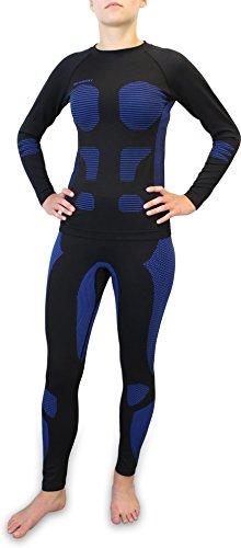 Polar Husky® Damen Thermo Funktionsunterwäsche Set mit Kompressionseffekt Hose und Hemd Farbe Blau Größe S/M