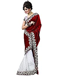TAGLINE Women's Velvet ,Net Saree With Blouse Piece (Tag30006_Red)