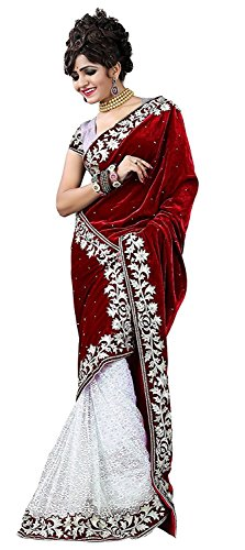 Tagline Women's Velvet & Net Saree With Blouse Piece (Tag20036 ,Red,Free Size)