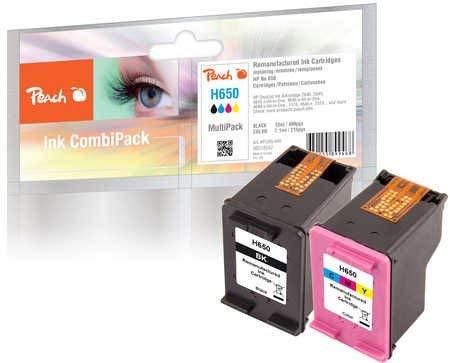 Peach Pack de ahorro cabezales de impresión compatible con HP No. 650Series