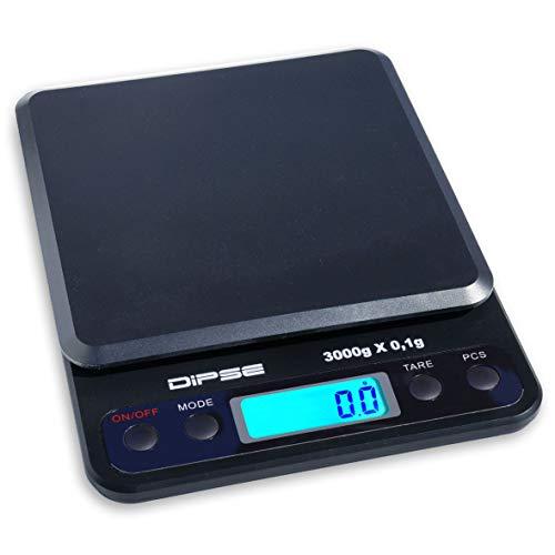 DIPSE HC-3000 Digitale Tischwaage mit 3 kg und 0,1g Teilung, Laborwaage, Präzisionswaage, Feinwaage