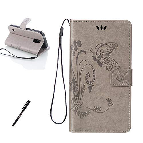 Tifightgo Samsung Galaxy S5 Mini Leder Hülle,Grau Schmetterling Blumen Prägung Ledertasche Kartenfach Standfunktion Leder Klapphülle Handyhülle Schutzhülle Flip Brieftasche für Samsung Galaxy S5 Mini
