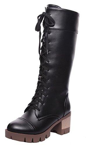 AgeeMi Shoes Damen PU Schnüren Rein Mittler Absatz Hoch-Spitze Stiefel,EuX137 Schwarz 40