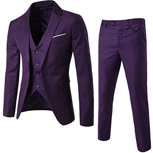 Herrenanzug Herren Slim Fit 3-Teilig Business Anzüge mit Weste Sakko Anzughose Violett M