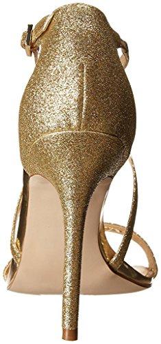 EDEFS Chaussures Femme Sandales 100mm Briller Talon Haut Ankle-Strap Chaussures de Soirée Mariage gold