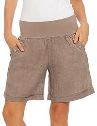 Mississhop Damen Leinenshorts Bermuda Lockere Kurze Hose Freizeithose 100%  Leinen Shorts Elegante Haremshose mit Knöpfen… ac3d842e9d